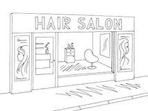 Hair salon exterior graphic black white sketch illustration vector. Hair salon exterior graphic black white sketch illustration royalty free illustration