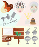 Hair Salon. At the Hair Salon, Hairdressing Icons Set, Flat design modern  illustration Stock Images