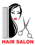 Hair salon icon with girl, scissors and comb Stock Photos
