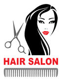 Hair salon icon with girl and scissors Stock Photography