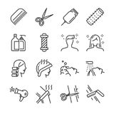 Hair salon icon set. Included the icons as hair cut, cleaning, barber, hair dryer, clipper, hair curler and more. Line icon vector: Hair salon icon set Royalty Free Stock Photography
