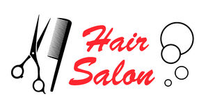 Hair salon icon. Style hair salon icon with barber tools Royalty Free Stock Image