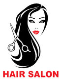 Hair salon icon with woman face Royalty Free Stock Photography