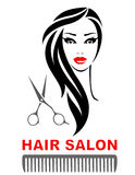 Hair salon icon with woman face and scissors Royalty Free Stock Images