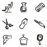 Hair Salon Icons Freehand Royalty Free Stock Photo