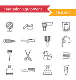 Hair salon icons set. Set of hairdresser line icons vector Stock Images