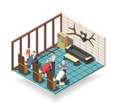 Hair Salon Isometric Composition royalty free illustration