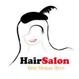 Hair salon logo design. With sensual woman isolated over white background Stock Photos