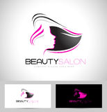 Hair Salon Logo. Design. Creative abstract woman face and hair and business card template stock illustration