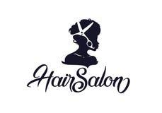 Hair salon logo. Girl and scissors design for hairdresser salon Stock Photos