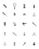 Hair salon objects. Set of Black Barber Shop Icons on White Background. Hair salon objects. Hair style objects Stock Image
