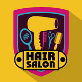 Hair salon. Over yellow background,vector illustration Royalty Free Stock Image