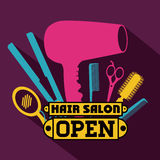 Hair salon. Over yellow background,vector illustration Stock Images