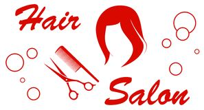 Hair salon red symbol Stock Photos
