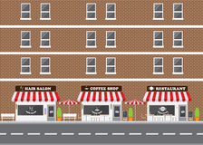 Hair Salon, Restaurant and Coffee Shop Facade. With Street Landscape. Brick Building Retro Style Facade  Vector Illustration Royalty Free Stock Photo