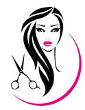 Hair salon sign with pretty woman and scissors Stock Photo