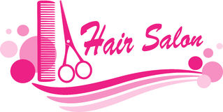 Hair salon sign with scissors and design elements. Pink hair salon sign with scissors silhouette and design elements Stock Photos