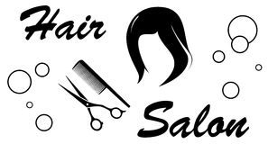 Hair salon sign on white background Royalty Free Stock Photos
