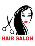 Hair salon sign with woman face Stock Photography