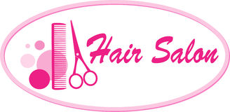 Hair salon signboard with scissors and comb Stock Image