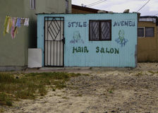 Hair salon in South Africa Townships. Front facade of a hair stylist salon in the townships near Cape Town South Africa stock images