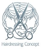 Hair Salon Stylist Hairdresser Concept. An abstract hair salon stylist hairdresser concept with womens faces and scissors Stock Photo
