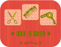 Hair salon, text Retro, three icons, dotted. Label of hair salon with comb, hair dryer, scissors Royalty Free Stock Photography