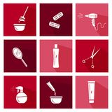 Hair salon tools. Flat icons co ection. Illustration of different attributes for hair royalty free illustration