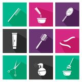Hair salon tools. Square icons. Design for beauty, hair salon Royalty Free Stock Image