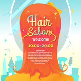 Hair salon. Vector illustration and poster Stock Photography