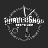 Hair salon vector labels in vintage style. Hair cut beauty and barber shop. Vintage logo  on dark background. Royalty Free Stock Photo