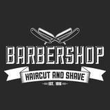 Hair salon vector labels in vintage style. Hair cut beauty and barber shop. Vintage logo  on dark background. Stock Images
