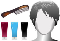 Hair salon woman mannequin comb product vector illustration