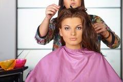 Hair salon. Women`s haircut.  Stock Images