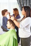 Hair salon. Workflow. stock photo