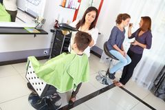 Hair salon. Workflow. Royalty Free Stock Photography