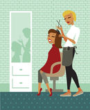 Hair salon. Young beautiful woman having her hair cut at the hairdresser salon Royalty Free Stock Photography