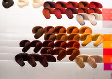 Hair samples of different colors Royalty Free Stock Images