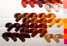 Hair samples of different colors Royalty Free Stock Photography