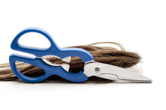 Hair with scissors Stock Photos