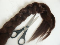 Hair and scissors. Brown hair and scissors Royalty Free Stock Image