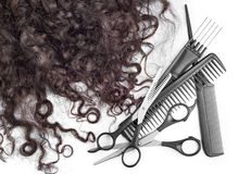 Hair with scissors on close up Royalty Free Stock Photo