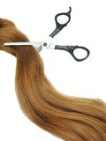 Hair and scissors in gingery hair Stock Photos