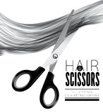 Hair and scissors on a white background Stock Photos