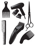 Hair set. A set of tools for hairdressers. Vector illustration Royalty Free Stock Image