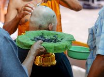 Hair shaving before ordination in the Ordination Ceremony royalty free stock photography