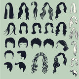 Hair silhouettes, hairstyle Stock Image