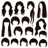 Hair silhouettes, woman hairstyle Royalty Free Stock Images