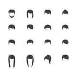 Hair silhouettes, woman and man hairstyle Stock Photos