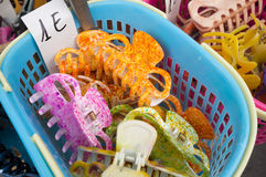 Hair slides on a market stall Royalty Free Stock Images